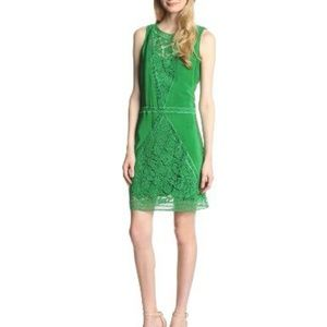 Tracy Reese green silk crochet paneled shift dress