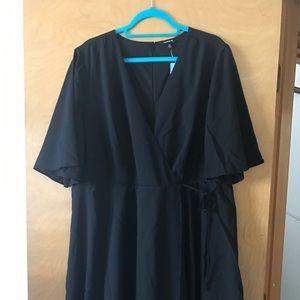 Plus size black wrap dress