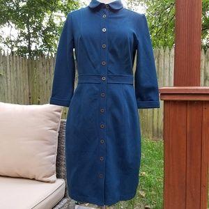 Boden 3/4 Sleeve Button Down Dress 8P