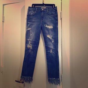 Zara Distressed Frayed Hem Jeans