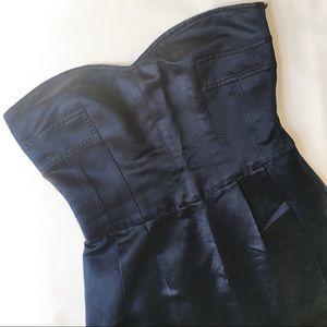 DVF Strapless Silk Navy Dress