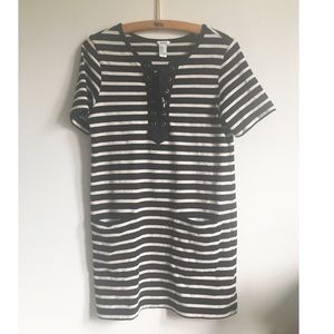 Black and Off White Striped Lace Up T-Shirt Dress
