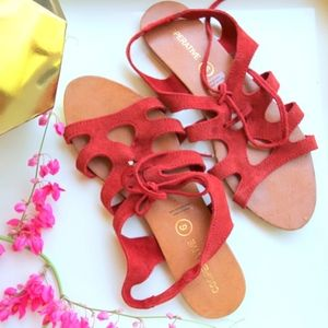 Never worn! URBAN OUTFITTERS Suede Tie Sandals