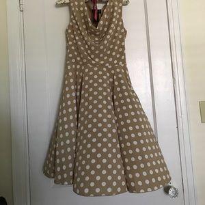 Tan and cream polka dot dress.