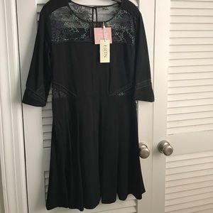 Erin Fetherston Black/Iridescent cocktail  dress