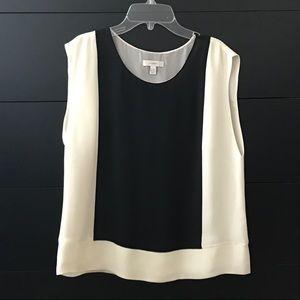 J. Crew 100% silk black & cream blouse
