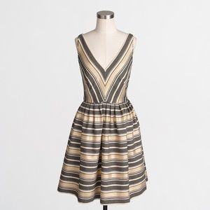 J. Crew gold striped dress