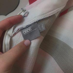 ASOS red blue ruffle stripe 4 a line swing dress
