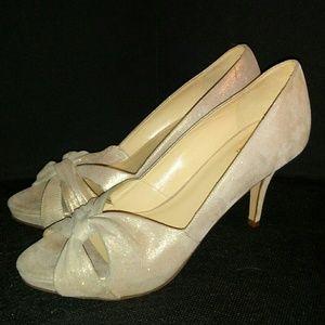 Kate Spade sparkly beige suede heels