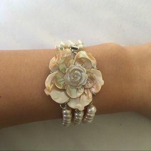 {vintage} pearl rose bracelet
