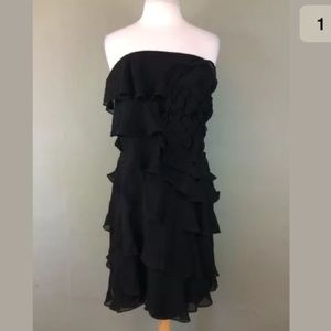 Express black strapless silk ruffled dress