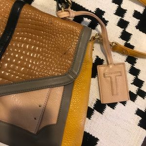 Tory Burch Bags - Tory Burch leather color block satchel purse