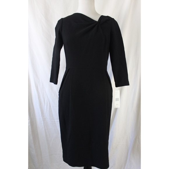 Lafayette 148 New York Dresses - LAFAYETTE 148 black 3/4 sleeve knotted front dress