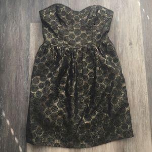 Kenzie Gold&Black Polkadot Strapless Dress Size 2