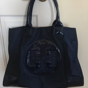 Tory Burch authentic large navy blue Ella tote.