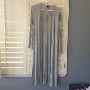 Long knit cardigan size small light grey