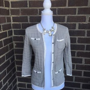NY&Company light brown and cream button up sweater