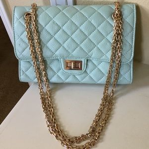 Handbags - Tiffany blue rose gold hardware quilted flap purse