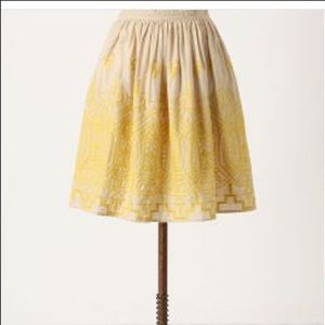 Anthropologie Tiny Sun Stitched Embroidered Skirt