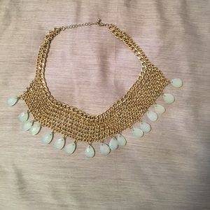 Gold and light blue forever 21 statement necklace