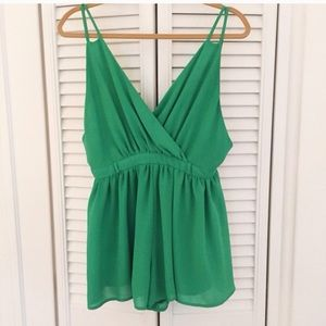 Pants - Kelly Green Chiffon Romper