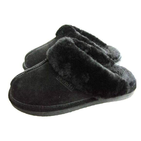 f7429f52e8775 bjorndal Shoes | Suede Fur Black Slippers | Poshmark