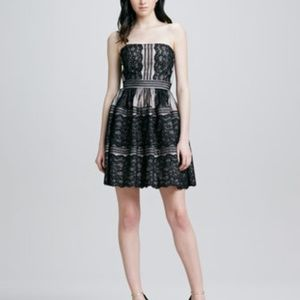 Aidan Mattox strapless lace cocktail dress