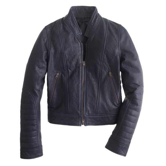 9fcad132f J.Crew Standing Collar Leather Jacket - Navy 00