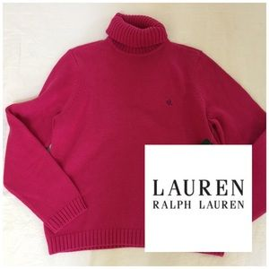 Lauren Ralp Lauren Hot Pink Turtleneck Sweater