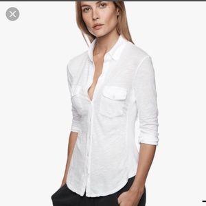 James Perse white slab panel button down shirt M