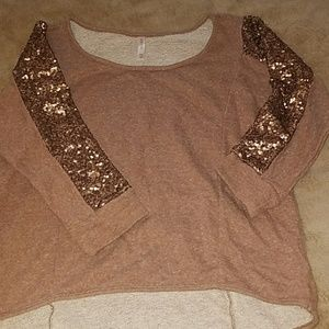 Sequin sweater rose gold/bronze Large