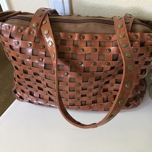 Express caged studded brown purse