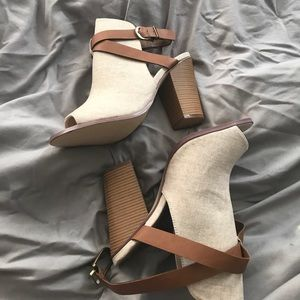Cream ankle bootie shoes