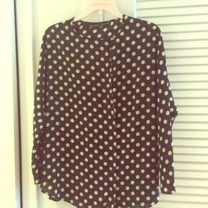 Polka dot silk blouse - Zara