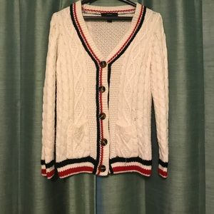 Forever 21 long cable knit cardigan with pockets