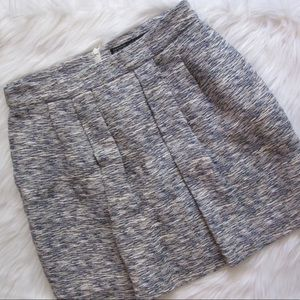 Zara basic periwinkle tweed pleated mini skirt