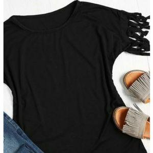 Tops - Black Fringed Sleeve Top
