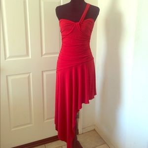 Charlotte Russe Formal Dress Asymmetrical Deep Red