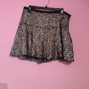 Express gold sequin mini skirt NWT