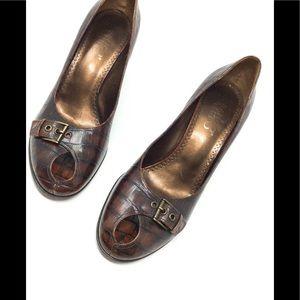 Franco Sarto Animal Print Keyhole High Heel
