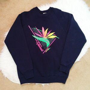 Hawaii Neon Vintage Black Sweatshirt