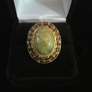 Vintage Genuine Serephrinite & Filigree Ring