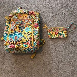 Vera Bradley book bag and wristlet combo