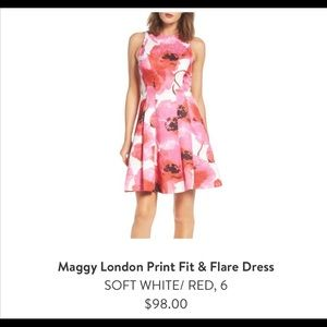 Maggy London print fit and flare dress size 6