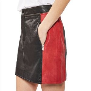Topshop Color block Leather Skirt NWT