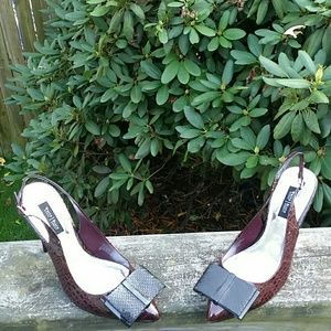 "WHITE HOUSE BLACK MARKET Croc ""Rudy"" Bow Heels"