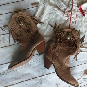 Vintage distressed leather fringe/concho boots