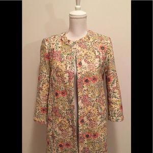 ZARA floral multi-color top coat NWT
