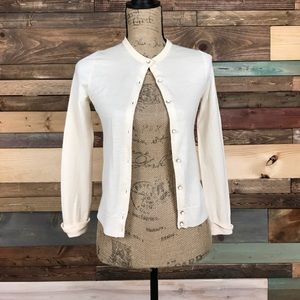 J Crew Pristine Ivory Beaded Wool Cardigan Small