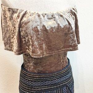 Nordstrom Les Soeurs Gold Velvet Bodysuit